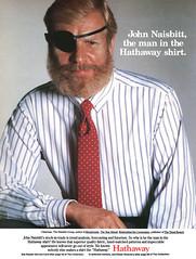 John Naisbitt for Hathaway shirts, 1986 ad (Tom Simpson) Tags: eyepatch pirate hathaway vintage fashion 1986 1980s dressshirt shirt menswear 1980sfashion ad ads advertising advertisement vintagead vintageads john naisbitt johnnaisbitt