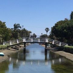 Serenity Now. (Lucyrk in LA) Tags: iphone wanderlust house walking walk venicebeach bridge calm itrulybelievegodliveshere serene serenity bluesky palmtrees reflection drought water canals travel ca california venicecanals veniceca