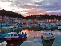 Sunset over St Aubin's Harbour (Richard Bougeard) Tags: jersey weather