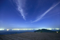 Perseids (Kenko softon A) (tomosang R32m) Tags: yakei night twilight blue  canon eos 6d hiyama sunset sky fukuoka itoshima hiking silhouette japan         friend beach beachline        star meteor    perseids  softn