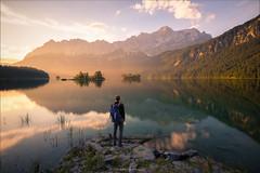The Morning Solitude (Constantin Fellermann) Tags: selbstportrait deutschland eibsee germany lake mountains berge alps alpen reflections morning sunrise sonnenaufgang fog nebel