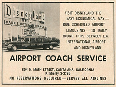 Disneyland Airport Coach Service, 1960 ad (Tom Simpson) Tags: vacationland vintage 1960 1960s disney vintagedisney disneyland ad ads advertising vintagead vintageads taxi
