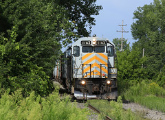 Ghetto? Where (GLC 392) Tags: lsrc lake state railroad company railway train emd gp40m3 1162 grey ghost saginaw mi michigan ghetto tunnel trees grain extra yard job