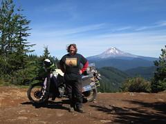 Jayne and Mt. Hood (jcravens) Tags: woman biker chick motorcycle motorcyclist klr kawasaki outdoors advrider traveler travel journey pacificnorthwest rider firefly mthood mounthood oregon view vistapoint