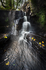 First Day of Autumn (manphibian) Tags: river waterfall waterfalls falls stream autumn leaves yellow orange light secret wild sony sonya7 zeiss loxia landscape