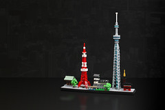 Tokyo skyline (cecilihf) Tags: lego moc tokyo skyline architecture sensoji meijijingu imperialpalace tokyotower tokyoskytree microscale japan