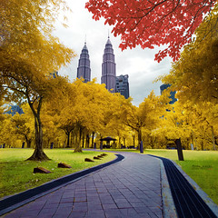 KLCC II (InfraRED) (tuan azizi) Tags: park cloud tree colors lens cityscape icon malaysia kit bandung scape klcc goldies leadingline nikkor1855 nikond3000 dibyogahari goldiepro tuanaziziphotography modifiedir myinfare