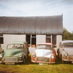 Morris Minors (fabiolug) Tags: uk red building green cars 120 film grass car metal wales mediumformat square countryside rust classiccar decay 120film squareformat morrisminor morris minor pembrokeshire classiccars kershaw ektar minors foldingcamera kershaw630 kodarkektar