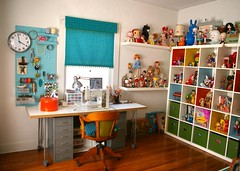 settled in (Super*Junk) Tags: toys clean collection workspace organization homeimprovement sewingroom