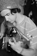 Alex. (Alannah Bowlus.) Tags: bw man love alex beautiful cool guitar talented