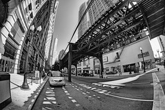 Intersecting lines (Explored) (Linh H. Nguyen) Tags: street city light shadow urban bw white chicago black monochrome lines pattern sony fisheye hdr samyang explored nex7