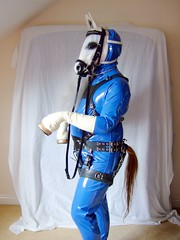 Pony Boy (Makenshi Fox) Tags: blue white fetish mask rubber pony latex hood harness pvc hooves ponyplay