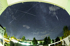 2012  Perseid meteors (Robbin Glliner) Tags: light night canon way star sweden balcony fisheye pollution 7d shooting nikkor milky meteors 105mm orsa perseid snowcamp