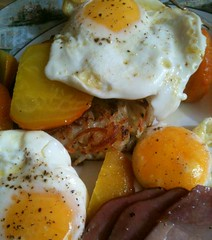 Ham, Eggs and Beets (one_trillian) Tags: food breakfast eating meals ham gourmet homemade eggs dining beets hashbrowns 3gs iphone