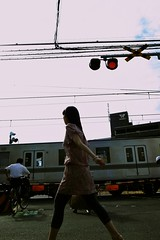 (mxmstryo) Tags: woman train tokyo walk railway september gr ricoh railwaycrossing    grd3