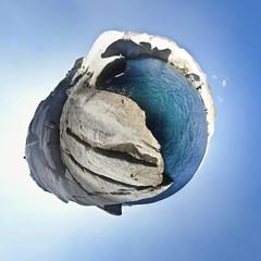 Sarakiniko little planet -2 (amfipolos) Tags: panorama photoshop island panoramic greece cyclades sonycybershot milos polarcoordinates sarakiniko καλοκαίρι νησί littleplanet stereographicprojection κυκλάδεσ μήλοσ pixelbender πανοραμικό σαρακίνικο
