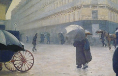 Gustave Caillebotte, Paris Street; Rainy Day, detail across the street