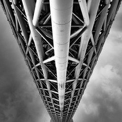 Toward The Space Age... (marco ferrarin) Tags: blackandwhite bw cloud tower japan square tokyo space squareformat highest skytree tokyoskytree