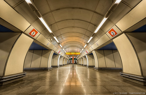 station underground subway prague metro escalator praha symmetry czechrepublic hloubetin