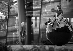 looking into the distance.. (White_V) Tags: street old boy man london glass canon ball reflections looking young 2012 whiteandblack