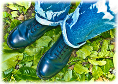 Blue Boots . Blue Docs . (CWhatPhotos) Tags: looking down cwhatphotos artist artistic olympus epl1 four thirds digital camera 1442mm zoom lens 8 hole doc docs doctor marten martens air wair airwair bouncing soles original eos close up boots boot drmartens docmartens dms adobe lightroom cushion sole yellow stitching yellowstitching foot photo photos picture pictures with that have dr comfort cushioned wear feet foto fotos which contain footwear photography light navy blue z welt vdmsole vdm garden tie dye dyed denim jeans flickr