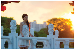 Ying (Alphone Tea) Tags: life park bridge light sunset shadow red portrait people favorite orange woman white black color cute green tower art girl beautiful smile grass composition contrast pose garden print photography golden evening daylight stand photo amazing model singapore asia pretty bright sweet bokeh modeling outdoor sister traditional great models chinese perspective young longhair culture front romance lovely staring naturalight 2012 100l 60d