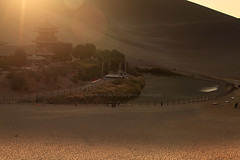 The Oasis (baddoguy) Tags: china sunset moon lake evening spring afternoon crescent gansu dunhuang yueyaquan