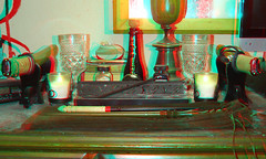 Altar of the Twin Blades, Generation II [3D Dubois Anaglyph] (狐☯忠 ❂ Fidelis) Tags: cup pen ink fire gold mirror stereogram stereophotography 3d candle magick wand smoke magic religion salt anaglyph velvet holly altar fountainpen spirituality shinto occult witchcraft ebony hotei incense chalice dubois tanto goblet stereoscopy holywater athame bloodwood redcyan tantou blessedwater