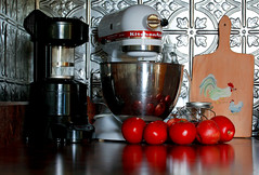 Tomatoes and Apples (aimeeern) Tags: red chicken kitchen canon silver rebel tomatoes apples rooster backsplash coffeeroaster rosemaling kitchenaide xti rosemaled ourdailychallenge