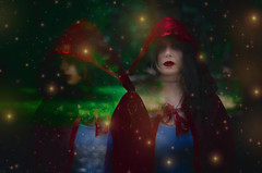#ProjectNeverland: #RedRidingHood (TheJennire) Tags: photography fotografia foto photo colours colores cores light luz fireflies magic dream dreamy ethereal fantasy book fairytale littleredridinghood redridinghood red fashion style makeup hair cabello pelo cabelo young tumblr conceptualphotography projectneverland movie cinema film dark girl woods forest doubleexposure hood people choker