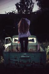 Lost direction (konstantinkulak) Tags: portrait rusty strobist car steering wheel pick up flash dawn girl silhouette