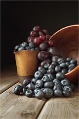Berries (seegarysphotos) Tags: blueberry grapes jug bowl wood stilllife painting seegarysphotos garylewis windowlight shadows light tumble tabletop