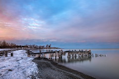Icy Sunset, Fifty Point Grimsby Ontario (Brian Krouskie) Tags: fiftypoint grimsby ontario ice snow pier sunset cloud sky longexposure reflection winter outdoor seascape landscape