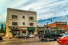 Art Deco Stylings (fotofrysk) Tags: artdeco shops stores cars parking centurybuildings heritagebuildings hurontariostreet canada ontario collingwood nikon d7100 1608287265