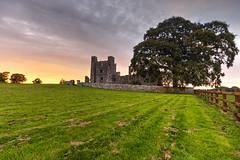 Bective Abbey Sunset (jonathon lynam) Tags: bective bectiveabbey abbey sunset meath leinster yeelow red orange green brown fence tree hdr nikond40 nikon nikcollection 1020mm