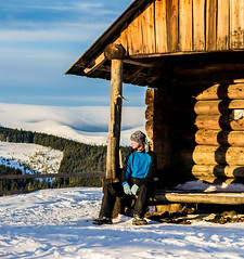 man on the porch (oleksandr.mazur) Tags: activity cabin camping cloudy countryside culture dawn day environment farm frost highland hiking hill house landscape light morning mountain nature outdoor pastime range rest ridge sit snow sunlight tourism tourist travel vacation winter
