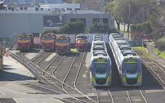N472 N466 N461 A66 VL37 and VL21 are stabled at the Dudley St sidings North Melbourne (bukk05) Tags: n472 railpage:class=48 railpage:loco=n472 rpauvicnclass rpauvicnclassn472 n466 railpage:loco=n466 rpauvicnclassn466 n461 railpage:loco=n461 rpauvicnclassn461 a66 railpage:class=30 railpage:loco=a66 rpauvicaclass rpauvicaclassa66 vl37 vl21 nclass aclass vlclass aat22c2r emd12645e3b sirharoldclapp jt22hc2 emd12645e3c cityofararat cityofwarrnambool cityofsale winter explore export engine emd electromotivediesel railway railroad railpage rp3 rail railwaystation railwaystations train tracks tamron tamron16300 yard loco locomotive photograph photo vline vlinepassenger vlocity australia diesel melbourne canon60d canon clydeengineering bombardier zoom victoria vr victorianrailway victorianrailways cumminsqsk7818 2016