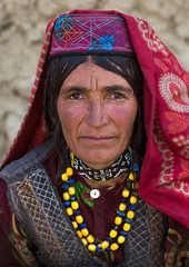 Portrait of a wakhi nomad woman, Big pamir, Wakhan, Afghanistan (Eric Lafforgue) Tags: 4044years adult adultsonly afghan afghan464 afghani afghanistan anthropolgy badakhshan bigpamir braidedhair centralasia colourimage community cultures hat headshot headscarf indigenousculture ismaili lifestyles lookingatcamera malongzan matureadult multicoloured necklace nomad nomadicpeople oneperson onewomanonly outdoors people photography portrait poverty traditionalclothing veil vertical wakhancorridor wakhi women womenonly wakhan pamir