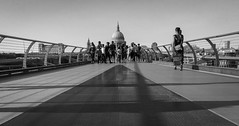 Millennium Bridge and St Paul's (DrCamel) Tags: buildings outdoor blackandwhite london st pauls stpauls bw england unitedkingdom gb