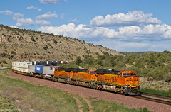 BNSF Stack Train on the Hualapai Reservation (Amtrakdavis22) Tags: bnsf bnsfrailway burlingtonnorthernsantafe bnsfseligmansubdivision arizona trains railroad freighttrain intermodal stacktrain bnsfsoutherntranscon peachspringsarizona hualapai