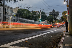 reverse rush on van ness avenue (pbo31) Tags: sanfrancisco california nikon d810 color september 2016 summer boury pbo31 bayarea night dark lightstream motion roadway bus muni vannessavenue russianhill unionstreet traffic motionblur fall stop