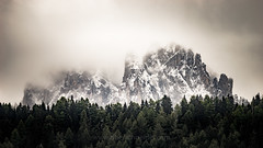 Mystic Dolomites (www.oberschneider.com - Christoph Oberschneider) Tags: dolomites fog mist nebel dolomiti dolomiten mystical autumn fall colors sonyalpha99 tamronsp150600563divcusd oberschneider christophoberschneider landscape silhouette ortisei southtyrol italy snow ngc