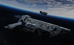 Escort (migalart) Tags: microscale moc sword mission last migalart lego battlecruiser space classic ship shiptember 2016