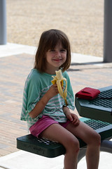 Banana Break (Vegan Butterfly) Tags: vegan child kid girl cute adorable person hungry eating eat snack vegetarian fruit banana smile smiling happy outside outdoor homeschool homeschooling