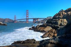 The Bridge (ByronF) Tags: bridge byronf sanfrancisco goldengatebridge bakerbeach beach rocks california landmark highwayone highway cables red ocean outdoors nature water