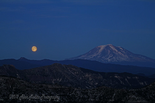 Moonrise near Mt Adams
