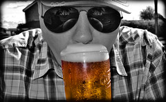 Sunny Days-Cold Pints. (CWhatPhotos) Tags: whitehills pub chester le street chesterlestreet cold carling pint beer drink drinking summer summers day selective color colour colours popp popping hat sun glasses shades alcohol lager cwhatphotos olympus epl3 1442mm zoom lens pictures picture photographs photograph pic pics foto fotos image images with that have which contain flickr