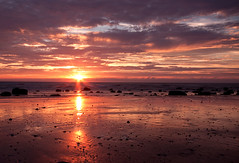 Beautiful Sunset (Explored) (angeladj1) Tags: sunset sun beach wales reflections coast northwales dinasdinlle