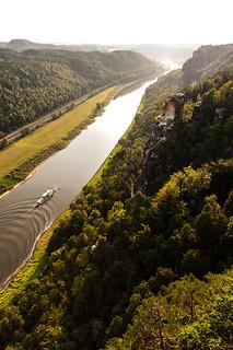 Blick von der Bastei auf die Elbe in Richtung Wehlen