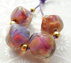 Just Peachy (Glittering Prize - Trudi) Tags: pink art glass beads handmade peach nuggets lampwork artisan peachy goldstone